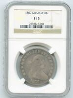 1807 DRAPED BUST HALF DOLLAR NGC F 15