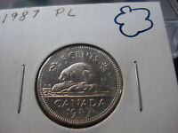 PROOF LIKE   1987   BRILLIANT UNCIRCULATED   CANADA NICKEL   CANADIAN 5 CENT