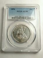 1856 SEATED LIBERTY HALF DOLLAR PCGS AU58 SHARP MINT STATE DETAILS COIN