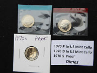 1970 DIME 3 COIN SET  S PROOF P & D IN US MINT CELLO