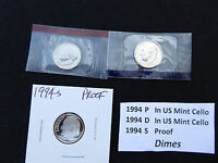 1994 DIME 3 COIN SET  S PROOF P & D IN US MINT CELLO