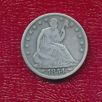 1854 SEATED LIBERTY SILVER HALF DOLLAR NICE CIRCULATED HALF