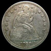 1845   SEATED LIBERTY SILVER DOLLAR $1   KEY DATE LOW MINTAGE COIN ONLY 24,500