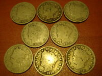 US 1899 1902 1903 1904 1906 1907 1910 1911 , 8 NICKEL S , 5 CENTS LIBERTY COIN S