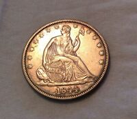 1844 SEATED HALF DOLLAR   GREAT STRIKE AND DETAILS 10106