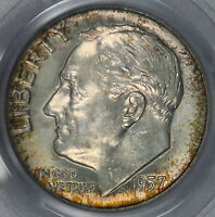 1957 D ROOSEVELT DIME PCGS MS66 COLORFUL TONED GREAT PATINA & BRIGHT SURFACE K12