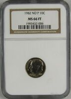 1982 NO P ROOSEVELT DIME NGC MS66 FT FULL TORCH