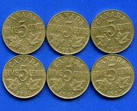 1927   1932 CANADA 5 CENT COINS