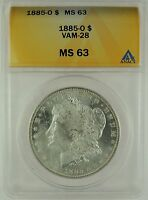1885-O $1 MORGAN DOLLAR VAM-28 ANACS MINT STATE 63 5002290 R5 ONLY 4 FINER - REFLECTIVE