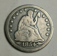 1854 O HUGE O SEATED LIBERTY QUARTER F DETAILS  VARIETY