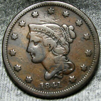 1841 BRAIDED HAIR LARGE CENT PENNY NEWCOMB 2 R2       DENT    R930