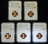 1993,94,95,96,97 FIVE X5 MATCHING NGC PROOF 69 RED ULTRA CAMEO LINCOLN CENTS