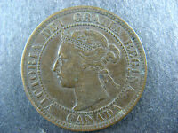 1 CENT 1897 CANADA LARGE ONE PENNY COIN QUEEN VICTORIA 1C 1 VF 20