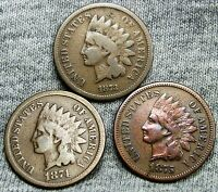 1873 CLOSED 3  1874  1875 INDIAN HEAD CENT PENNIES      NICE      D628