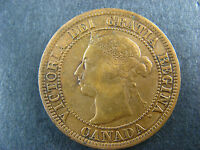 1 CENT 1891 SD LL OBV. 3 CANADA ONE LARGE PENNY COIN QUEEN VICTORIA 1C 1 F 12