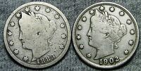 1883 WITH CENTS 1902 LIBERTY V NICKEL LOT  ----   ---- D146