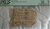 DEC 1771 TWO POUND COLONIAL CURRENCY NOTE PCGS VF 20