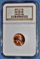 1955 D LINCOLN CENT NGC MS 66 RED 1C WHEAT PENNY  MS66 RD