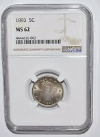 1893 LIBERTY  NICKEL - MINT STATE 62 - NGC - NEW STYLE HOLDER - RIM OF COIN IS VISIBLE