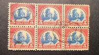 1925  US SC  573   $5  AMERICA BLOCK OF 6 USED    AD102