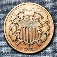 1871 TWO CENT PIECE VG/F
