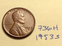 1953 S 1C RD LINCOLN CENT 736H