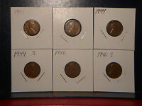 1941 P S,1944 P S,1946 P S  LINCOLN WHEAT BACK CENTS  GREAT COINS NICE