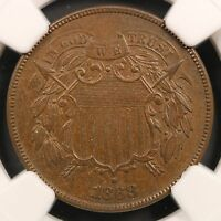 1868 TWO CENT PIECE NGC MINT STATE 64 BN
