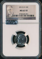 2013 D ROOSEVELT DIME NGC MAC MS 67 FT DMPL 2ND FINEST