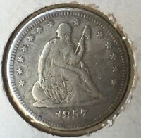 1857 O SEATED LIBERTY QUARTER FINE