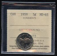 1959 CANADA 5 CENT COIN ICCS GRADED MS65  ED 872