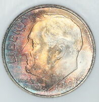 1947 S ROOSEVELT DIME NGC MS67 STAR STUNNING RAINBOW TONED COLORFUL TONING 1D