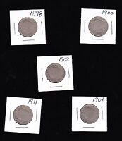 5 LIBERTY V-NICKLES 1898, 1900, 1902, 1906 & 1911