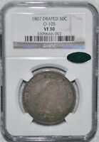 1807 DRAPED BUST HALF DOLLAR - O-105 - NGC - VF 30 - CAC STICKER