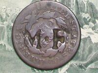 NICE OLD  1829   LARGE CENT   COUNTERSTAMPED