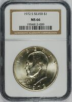 1972 S EISENHOWER SILVER DOLLAR 40 SILVER    NGC MS66