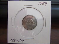 CANADA FIVE CENTS 1959 MS NEAR GEM