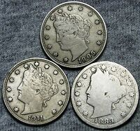 1883 WITH CENTS 1906 1911 LIBERTY V NICKEL LOT  ----   ---- D148