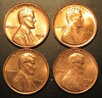 1968 S 1969S 1972S & 1974S LINCOLN CENTS BU FROM UNCIRCULATED ROLLS