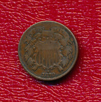 1870 TWO CENT 2 CENT PIECE   CIRCULATED COPPER COIN SHIPS FREE