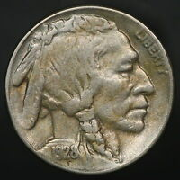 1928-S BUFFALO NICKEL CHOICE EXTRA FINE  - AU SLIDER  BRIGHT & WELL PRESERVED 7178
