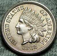 1862 COPPER NICKEL INDIAN HEAD CENT PENNY     GEM BU DETAILS     D978
