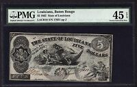 1862 $5 BATON ROUGE LA LOUISIANA PMG 45 EPQ CIVIL WAR ERA FIVE DOLLAR NOTE