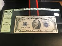 1934 C $10 SILVER CERTIFICATE PCGS CURRENCY VINTAGE HOLDER  65PPQ