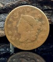1830 1C LARGE LETTERS BN CORONET HEAD CENT