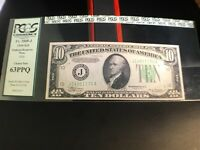 1934  $10 FEDERAL RESERVE NOTE WITH KANSAS CITY SEAL PCGS 63PPQ