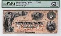 1830S 60S,PITTSON BANK. PA.$5 PROOF.GRADED CH.UNC. 63NET BY PMG.