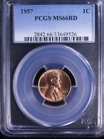 1957 LINCOLN CENT MS66 RD PCGS