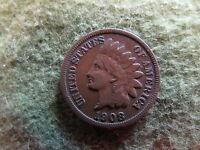 1908 S INDIAN HEAD CENT BROWN BN COPPER PENNY SNOW BETTER DATE 1C COPPER PENNY