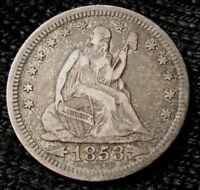1853 SEATED LIBERTY QUARTER   AU DETAILS   14423